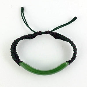 Jade Bracelet - Polished Cuff & Macrame - The Jade Store