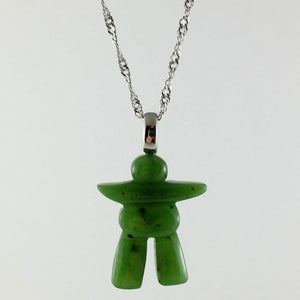 Jade Pendant - Inuksuk on Steel - The Jade Store