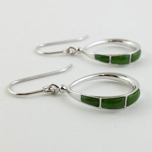 Jade Earrings - Square Cabs on Silver Loop - The Jade Store