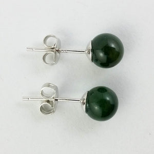 Jade Earrings - 6mm Bead in Silver - The Jade Store