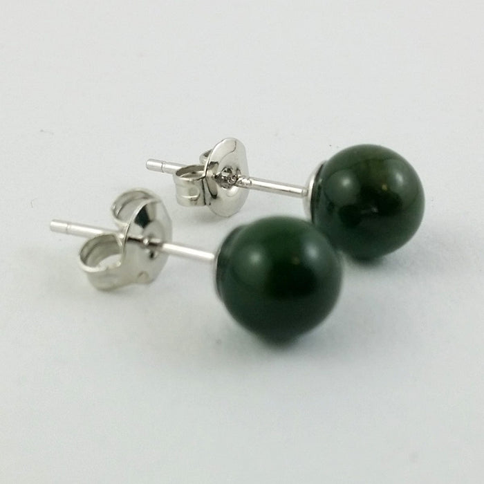 Jade Earrings - 6mm Bead in Silver