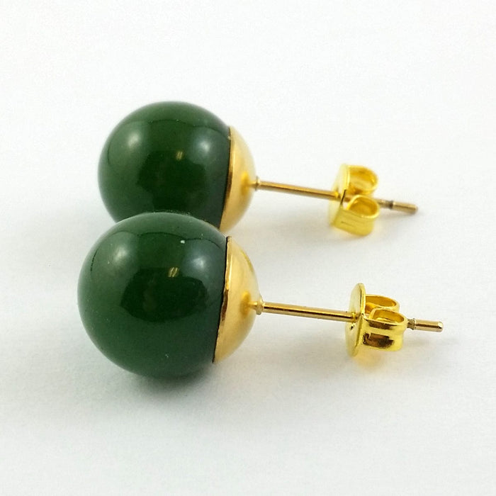 Jade Earrings - 10mm Studs in Gold Stainless