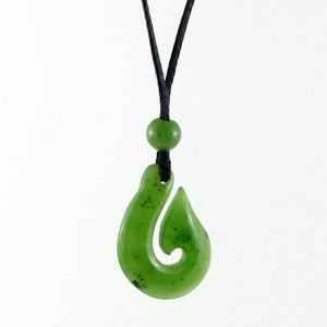 Jade Pendant - Fish Hook 20mm - The Jade Store