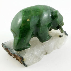 "Jade Bear - 3"" Grizzly on Agate Base - The Jade Store"