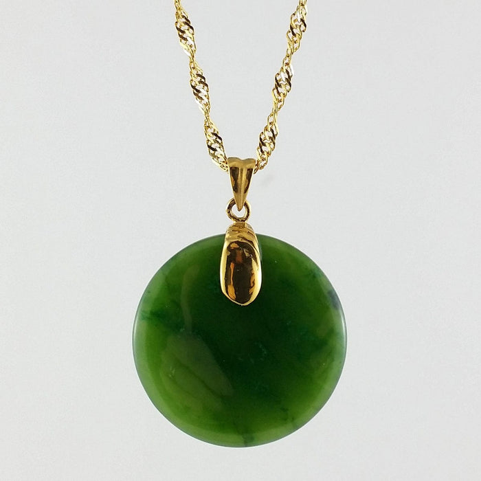 Jade Pendant - Round in Gold Stainless
