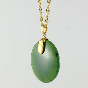 Jade Pendant - Round in Gold Stainless - The Jade Store