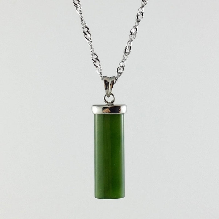 Jade Pendant - Rectangle in Stainless