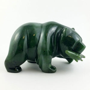 "Jade Bear with Jade Fish - 5"" - The Jade Store"