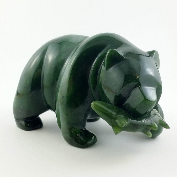 Jade Bear with Jade Fish - 5""