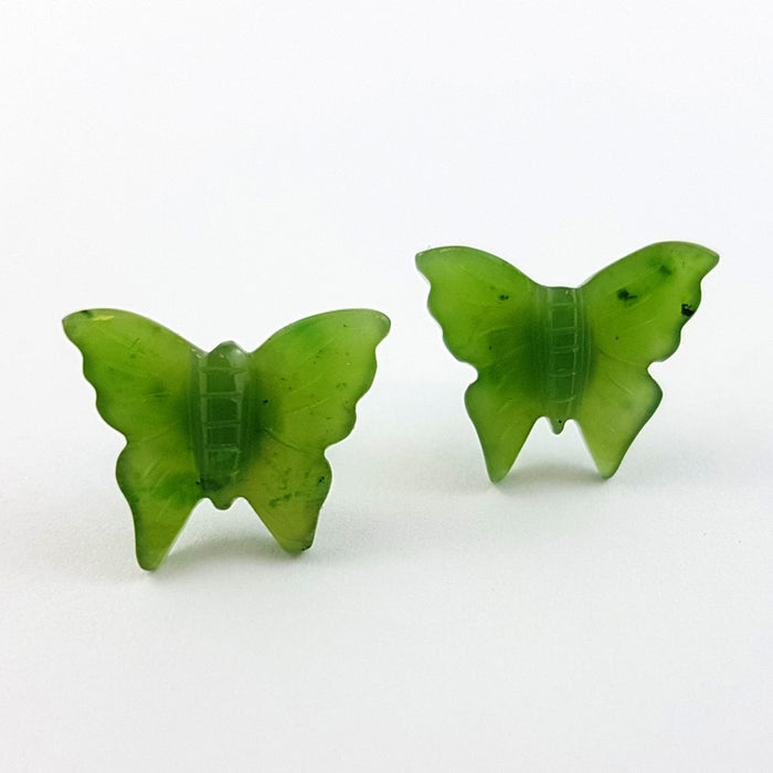 Jade Earrings - Butterfly Studs