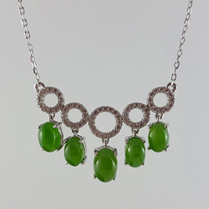 Jade Necklace – 5 Circles w/ Cabs - The Jade Store