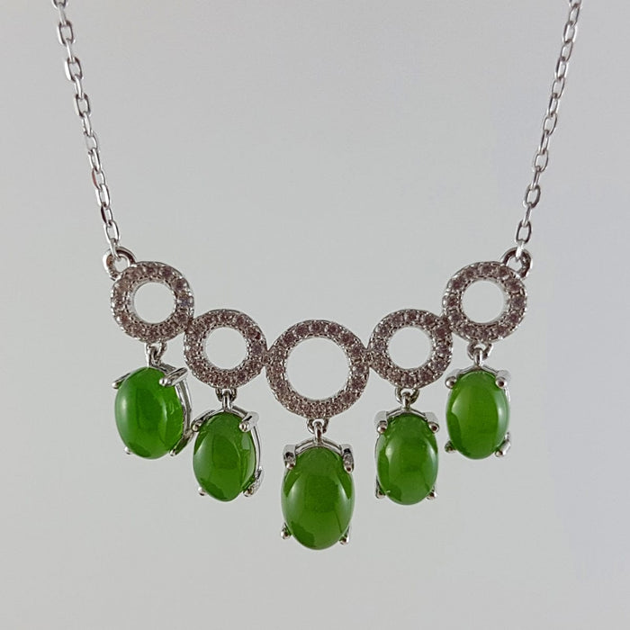Jade Necklace – 5 Circles w/ Cabs
