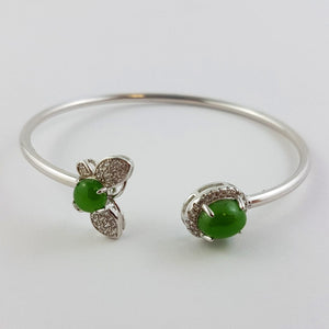 Jade Bracelet - Silver Cuff Bangle - The Jade Store