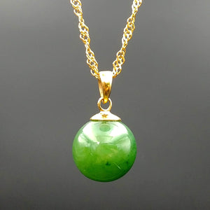 Jade Pendant – 12mm Bead Gold Stainless - The Jade Store