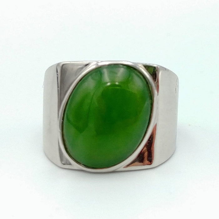 Jade Ring – Oval in Silver