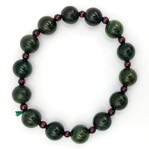 Jade Bracelet - 10mm Bead with Garnet - The Jade Store