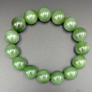 Jade Bracelet - 14mm Bead Cat's Eye - The Jade Store