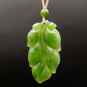 Jade Carved Leaf Pendant - The Jade Store