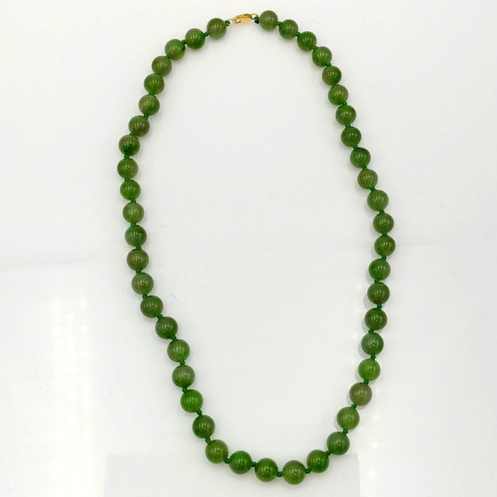 Jade Necklace - 8mm Beads with Gold Clasp
