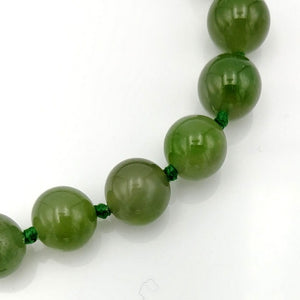 Jade Necklace - 8mm Beads with Gold Clasp - The Jade Store