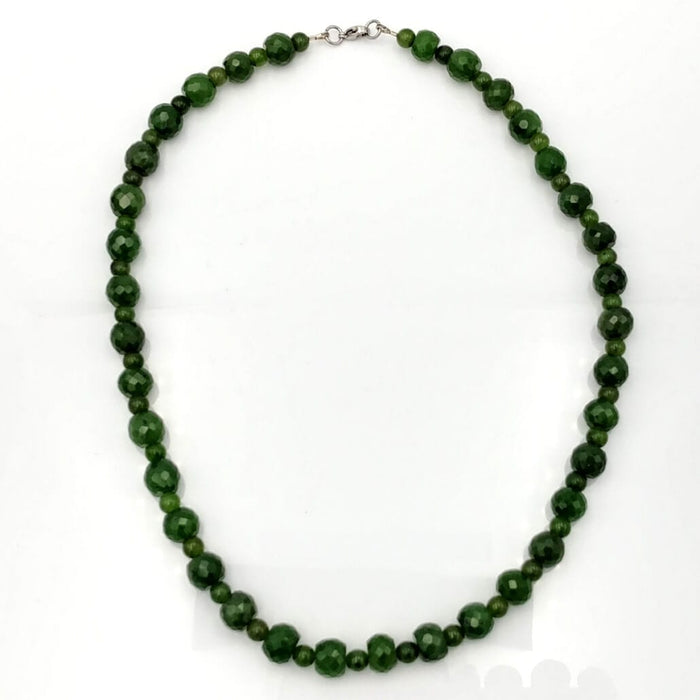 Jade Necklace - Beads Faceted Alternating