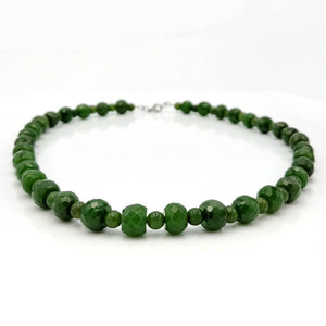 Jade Necklace - Beads Faceted Alternating - The Jade Store