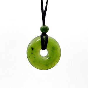 Jade Pendant - Pi on Cord 20mm - The Jade Store