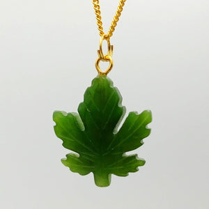 Jade Pendant - Maple Leaf Gold Stainless - The Jade Store