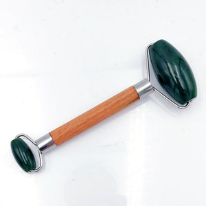 Jade Face Roller – Double with Wood Handle - The Jade Store