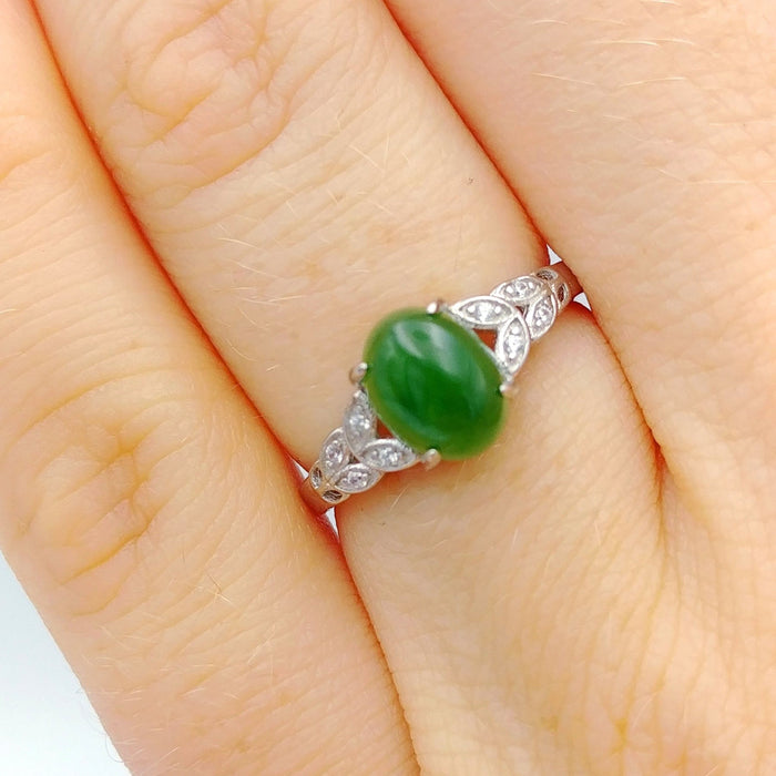 Jade Ring - Oval with CZ Leaves