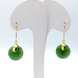 Jade Earrings - Disk Small Gold Stainless - The Jade Store
