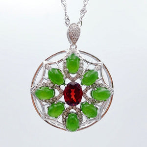 Jade Pendant - 8 Cabs with Garnet - The Jade Store