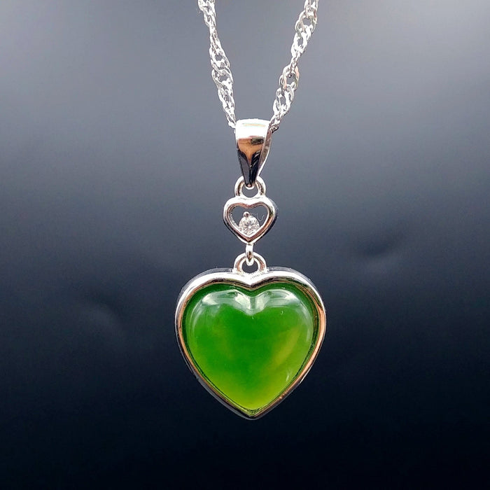 Jade Pendant - Heart With Small CZ