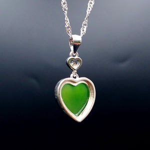 Jade Pendant - Heart With Small CZ - The Jade Store