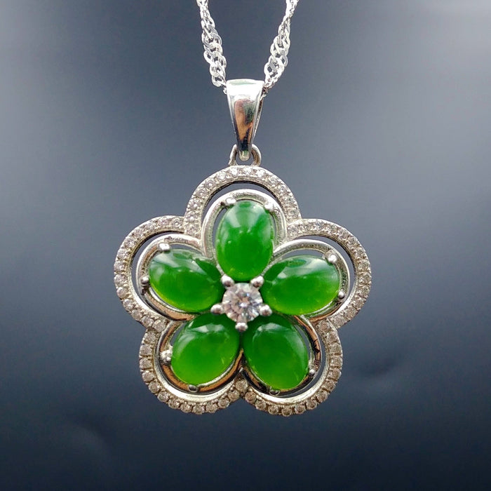 Jade Pendant - Flower with CZ