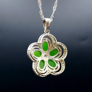 Jade Pendant - Flower with CZ - The Jade Store
