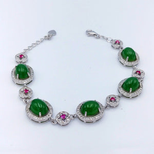 Jade Bracelet - 5 Cabs with Pink CZ - The Jade Store