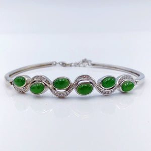 Jade Bracelet - Small Cabs with CZ Wave - The Jade Store