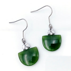 Jade Earrings - Half Circle with CZ - The Jade Store