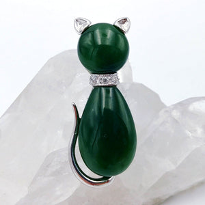 Jade Brooch - Cat - The Jade Store