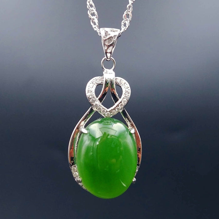 Jade Pendant - Heart With CZ Heart