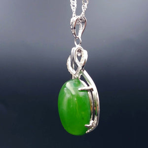 Jade Pendant - Heart With CZ Heart - The Jade Store