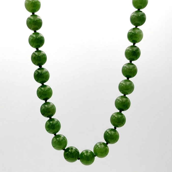 "Jade Necklace - 27"" Long 10mm Beads"