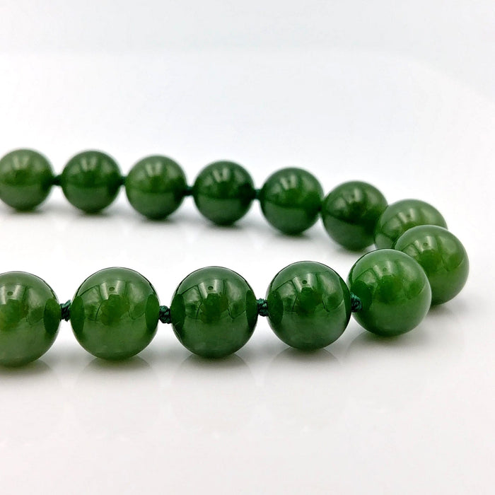 "Jade Necklace - 21"" Long 10mm Beads"