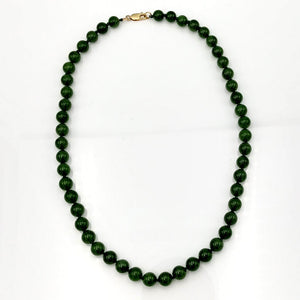 "Jade Necklace - 21"" Long 10mm Beads - The Jade Store"