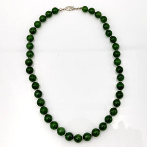 "Jade Necklace - 16"" Long 10mm Beads - The Jade Store"
