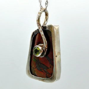 Ammolite Pendant - Red Ammolite with Peridot by Linda Zepik - The Jade Store