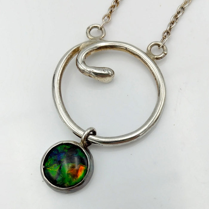 Ammolite Pendant - Sterling Circle by Linda Zepik