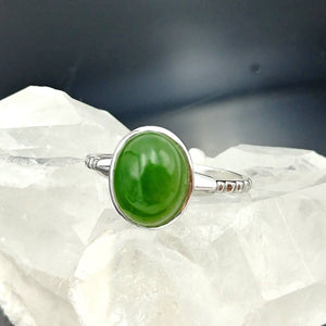 Jade Ring - Oval in White Gold 18K - Size 7 - The Jade Store