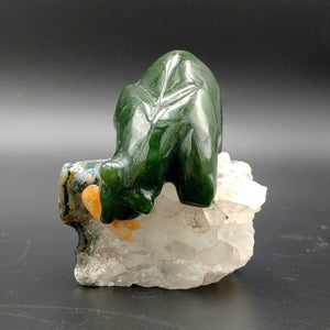"Jade Bear on Quartz with Rhodo Fish 2"" - The Jade Store"